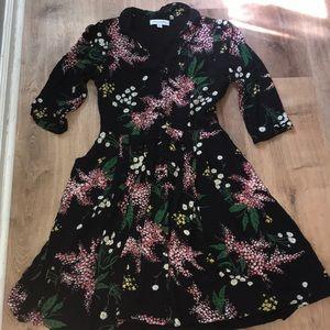 EmilyandFin ModCloth Black Floral Dress Small